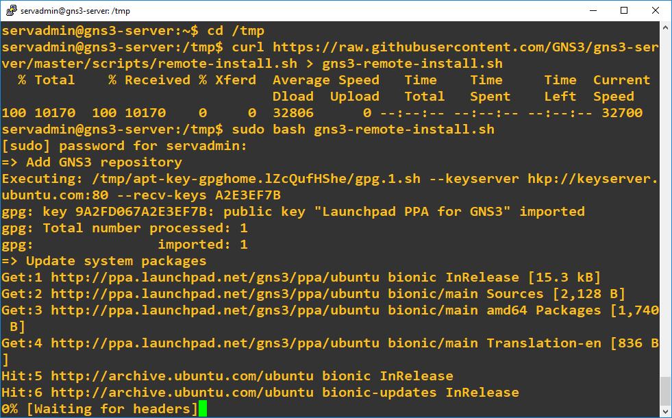 Installing GNS3 Remote Server on Ubuntu 18 04 02 LTS